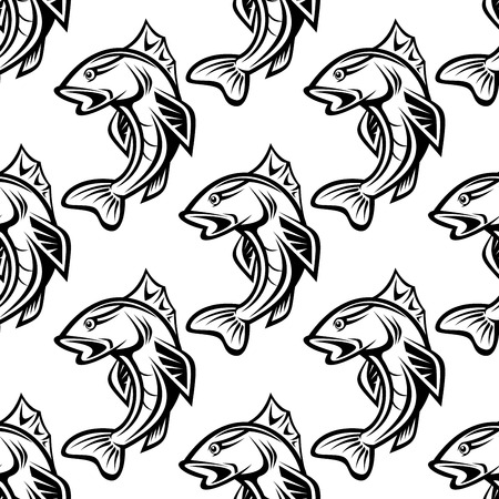 jumping carp: Seamless pattern with  jumping fish for fishing industry design Illustration