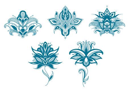 Fleurs Paisley bleu fixés pour la conception florale indiens ou persans Banque d'images - 37328213