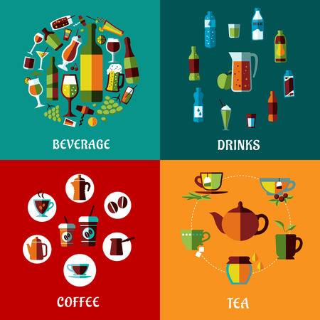 alcohol: Drinks and beverages flat compositions for cafe, restaurants and menu design with alcohol, juice, coffee and tea icons Illustration