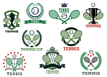backhand: Tennis sports emblems and icons, for trophy cup, tournament or match design Illustration