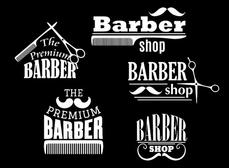 barber pole: Banners, signs and pointers for barber shop or hairdresser service design