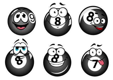 8 ball pool: Funny smiling pool and billiard balls characters set for mascot or sports design