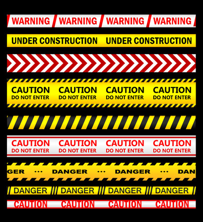 Warning, security and caution ribbons and tapes set for safety, crime or forbidden design Vector