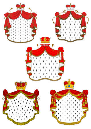 Heraldic red royal mantles set with silk, crowns and golden embellishments