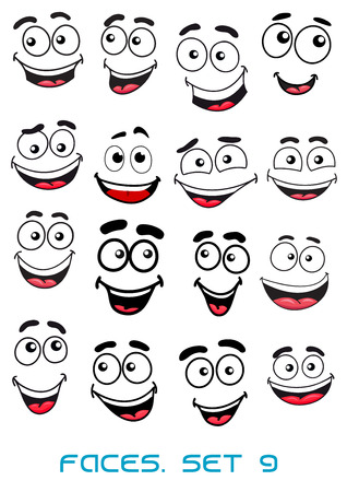 sneer: Happiness and smiling people faces with good emotions for any character design