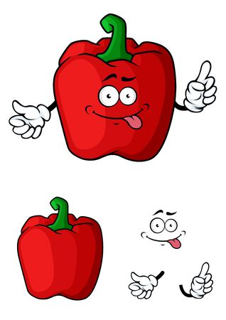Red bell pepper vegetable character with  or without faces and hands for food or agriculture design 向量圖像