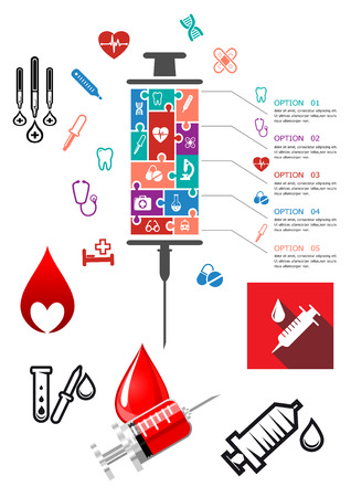 syringe inoculation: Medical and hospital infographics with icons with syringe, blood and other emergency icons