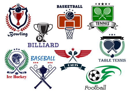 Variety sports icons set with bowling, billiard, basketball, tennis, baseball, darts, ice hockey and soccer elements