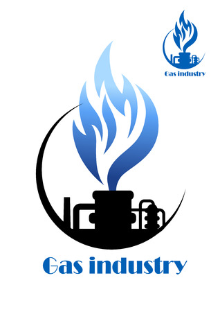 Well gas production and gas processing factory emblem or icon photo