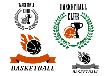 Basketball game emblems and symbols with fire flames, laurel wreath and trophy club photo