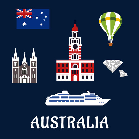 melbourne: National Australian symbols and icons as landmarks, flag, diamond, balloon and travel ship for tourism industry design