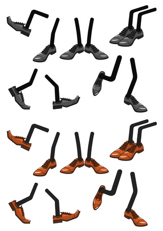 Cartoon character foots in shoes isolated on white background for comics design