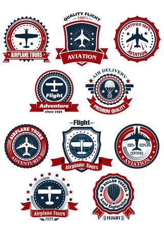 aereo: Aviazione e viaggi aerei banner o emblemi per viaggi e trasporti progettazione Vettoriali