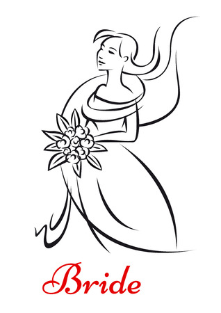 veil: Beautiful bride in white bridal dress and veil with bouquet of flowers Illustration