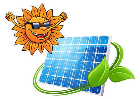 photovoltaic: Happy cartoon sun with solar photovoltaic panel for environment and technology design