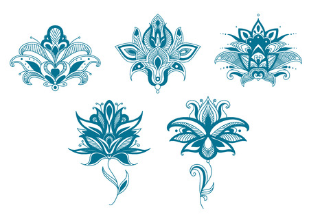 Blue paisley flowers set for indian or persian floral design