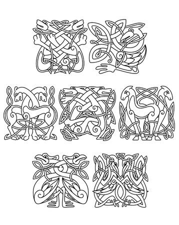 celt: Stork, crane and heron birds celtic ornaments for design, decoration or religion design