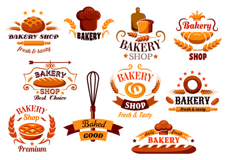 pastries: Bakery and bread symbols or banners also with cereal ears, utencil and decorations for food design Illustration