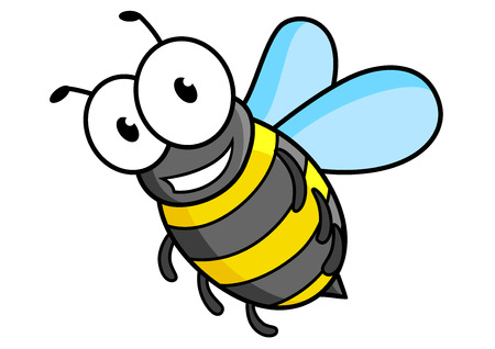 Cartoon bee or wasp character with striped tummy and funny eyes