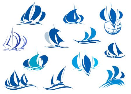 logotipo turismo: Veleros y yates en el mar para el diseño de yates o regata deportes Vectores