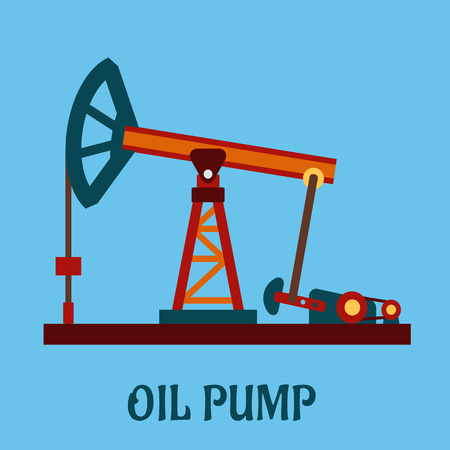 oilwell: Isolated flat oil pump icon for petroleum refining industrial design Illustration