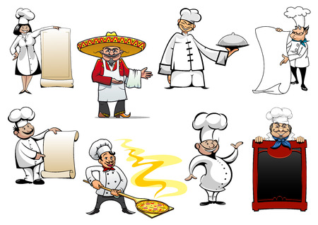 cartoon menu: Variety cartoon chinese, mexican, german, spanish, french and italian chefs or bakers