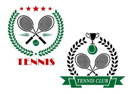テニス ゲーム アイコンとエンブレムについて交差ラケット、花輪、リボン、ボール、トロフィー、スポーツ デザインのテキスト