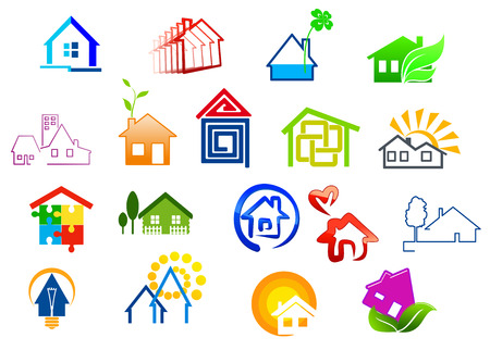 realty residence: Colorful real estate and house icons with puzzle, light bulb, sun, green tree, heart and water details Illustration