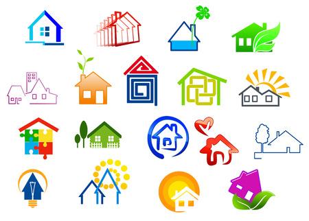 Inmobiliarios y de la casa Iconos coloridos con rompecabezas, bombilla, sol, árbol verde, el corazón y detalles de agua