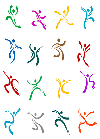 Dancing and jumping peoples icons for sports, fitness, party or entertainment design