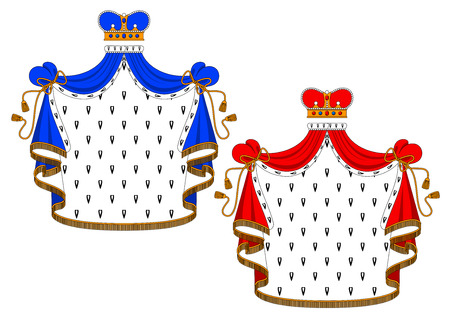 Royal mantle with king crown in red and blue variations for heraldic design
