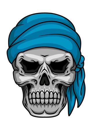 skull cranium: Pirate skull in blue bandana for piracy, halloween or tattoo design Illustration
