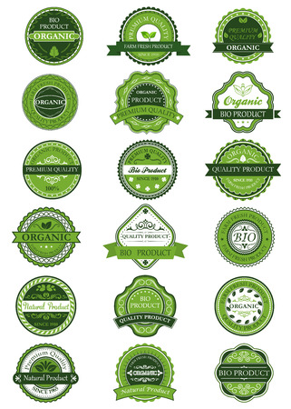 Organic or natural product labels and banners with green and white design element Illustration