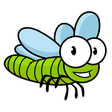 googly: Cute little kids cartoon flying dragonfly with a green body and large googly eyes, isolated on white Illustration