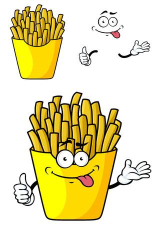 Lachende cartoon frieten met handen en gezicht in papier cap