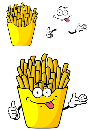 Smiling cartoon french fries with hands and face in paper cap