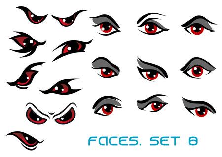 Niebezpieczeństwo potwór aand złe czerwone oczy ustawione twarze przedstawiające szereg wyrażeń