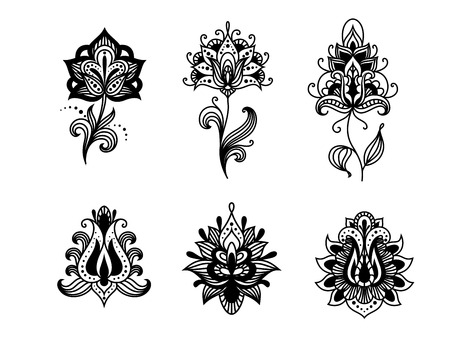 persian: Decorative indian or persian paisley flowers set isolated on white background