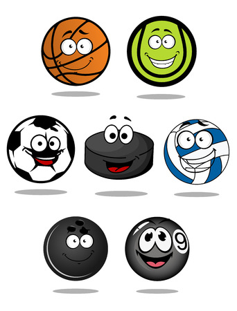 Set of cartoon sports balls characters for basketball, tennis, snooker, pool, bowling, football, hockey puck, and volleyball mascot design Vector