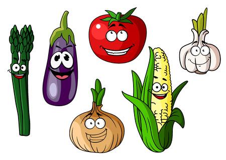 elote caricatura: Conjunto de vehículos coloridos dibujos animados con las caras sonrientes felices incluyendo maíz, berenjena, espárragos, cebolla, ajo y tomate