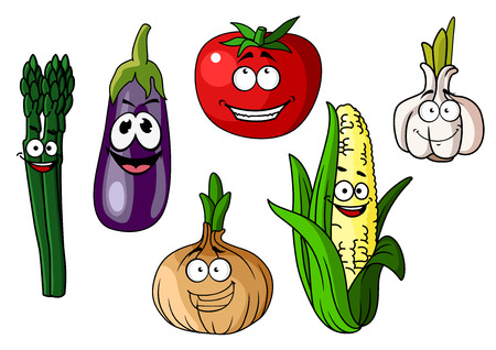 Set of colorful cartoon vegetables with happy smiling faces including corn, eggplant, asparagus, onion, garlic and tomato Illustration