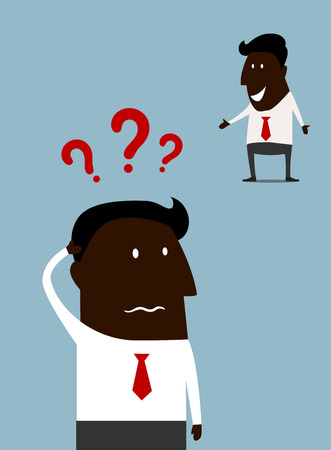 scratching head: Afroamerican cartoon businessman with a problem standing scratching his head with question marks above and a second variant happy and smiling as he finds the answer