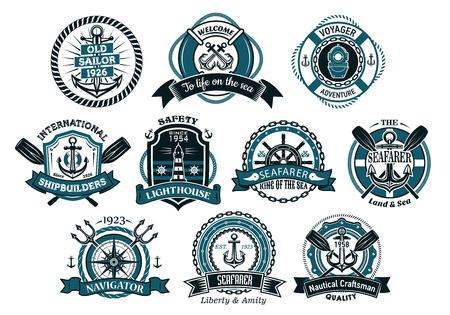 marinero: La gente de mar creativas o iconos n�uticas y pancartas con cuerda, ancla, tridente, tim�n, cadenas, salvavidas y remo Vectores