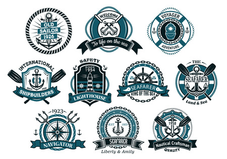 Creative seafarers or nautical icons and banners with rope, anchor, trident, helm, chains, life buoy and oar