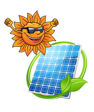 greeen: Cartoon sun with a happy smile wearing sunglasses with a photovoltaic cell with entwined greeen leaf for alternate eco-friendly solar energy