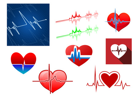 Red hearts with beat frequency icons and cardiology monitor for medical concept design Vector