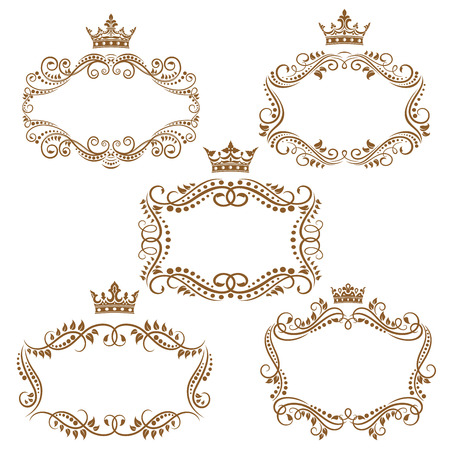 Royal vintage brown borders and frames emphasizing the crown on top isolated on white background