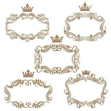 Frontières vintage marron royaux et les cadres mettant l'accent sur la couronne au sommet isolé sur fond blanc