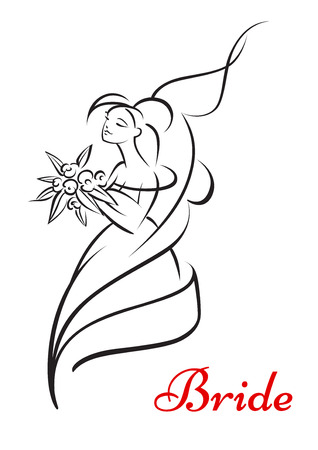 matrimony: Beautiful bride holding flowers and smiling with text below for marriage or wedding design
