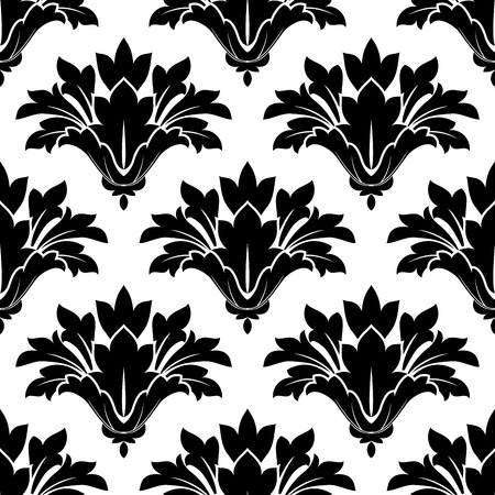 arabesque wallpaper: Black arabesque floral seamless pattern with decorative dainty flowers for textile and wallpaper design